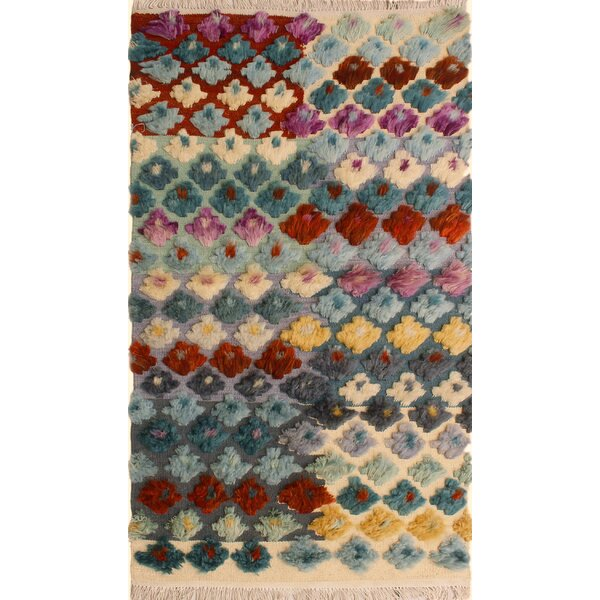 One-of-a-Kind Gowen Hand-Knotted Wool Gray/Blue Area Rug by Bloomsbury Market