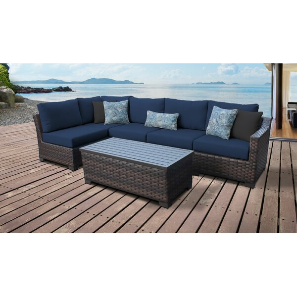 River Brook 6 Piece Outdoor Wicker Patio Furniture Set by kathy ireland Homes & Gardens by TK Classics