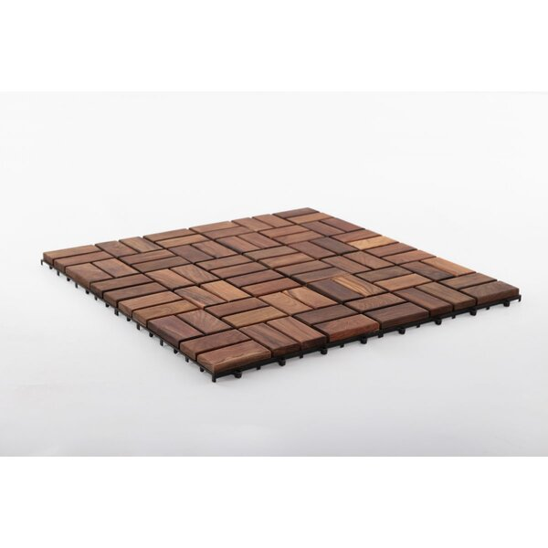 Zig Zag Square 11.8 x 11.8 Teak Wood Interlocking