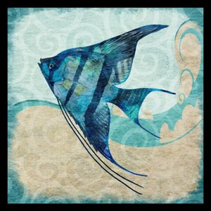 'Ocean Angel Fish - Colorful Fish Blue Green Coastal Nautical Sea Life' by Jill Meyer Framed Graphic Art by Buy Art For Less