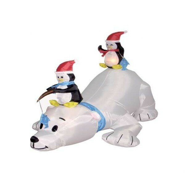 Christmas Inflatable Polar Bear and Penguins by The Holiday Aisle