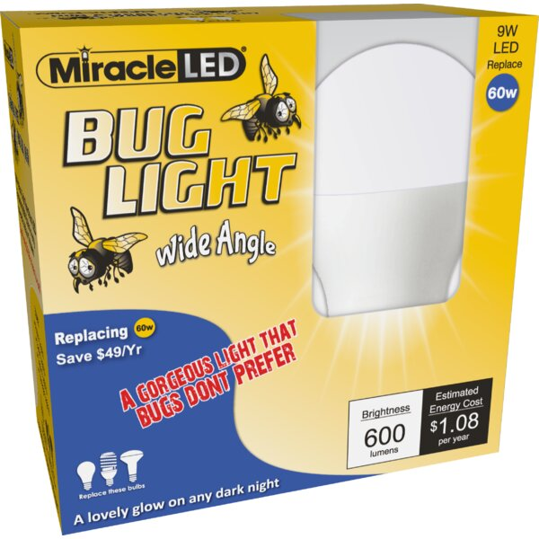 9W Yellow E26/Medium (Standard) LED Light Bulb (Set of 2) by Miracle LED