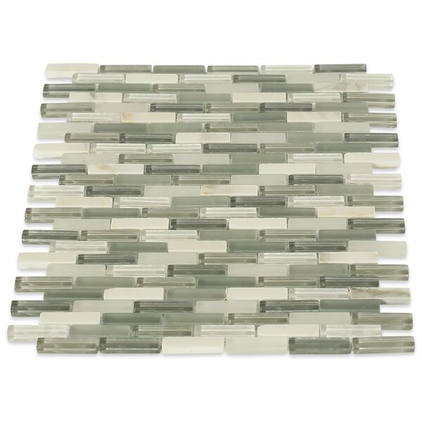 Cleveland 0.5 x 1.5 Glass/Marble Mosaic Tile in Frosted White/Gray by Splashback Tile
