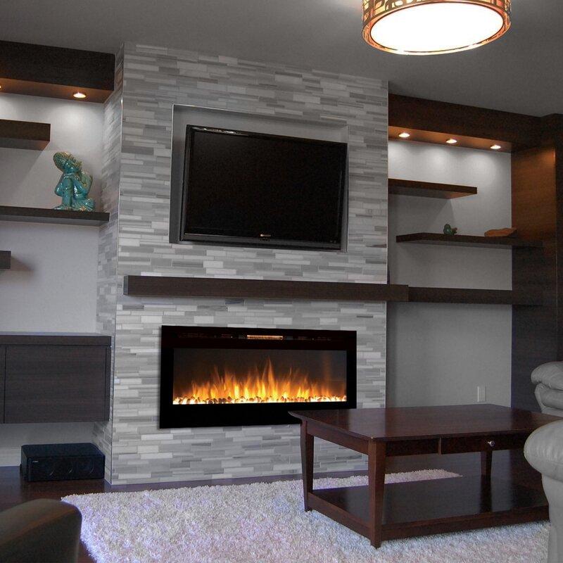 Ivy Bronx DeMotte Wall Mount Metal Electric Fireplace & Reviews ...