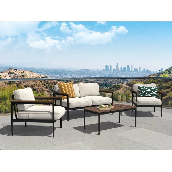 Herrera 4 Piece Outdoor Sofa Seating Group with Cushions by 17 Stories