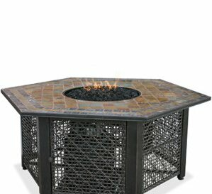 LP Gas Outdoor Fire Pit with Slate Tile Mantel by Uniflame Corporation