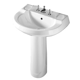 Best Review Wynne Lavatory Vitreous China 28 Pedestal Bathroom Sink with Overflow By Barclay