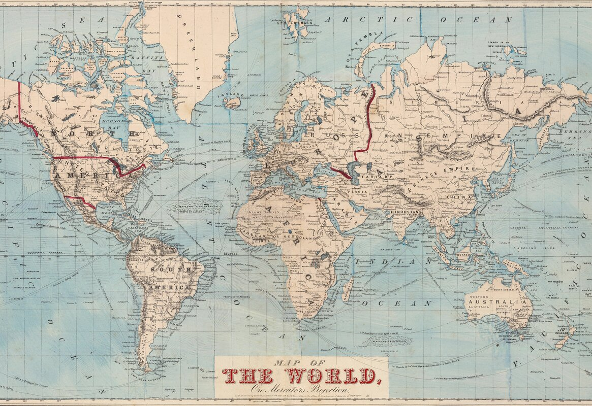 Mercury row gilbertson map of the world wall mural reviews wayfair sciox Choice Image