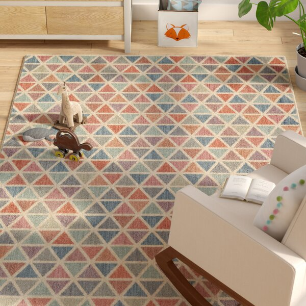 Paulette Aqua/Coral Area Rug by Harriet Bee