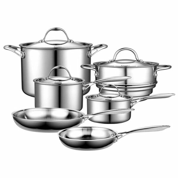10 Piece Multi-Ply Clad Stainless Steel Cookware Set by Cooks Standard
