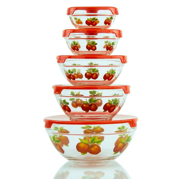 Stackable Glass 5 Container Food Storage Set by Rebrilliant