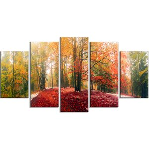'Alpine Forest After Snowfall' 5 Piece Photographic Print on Wrapped Canvas Set by Design Art