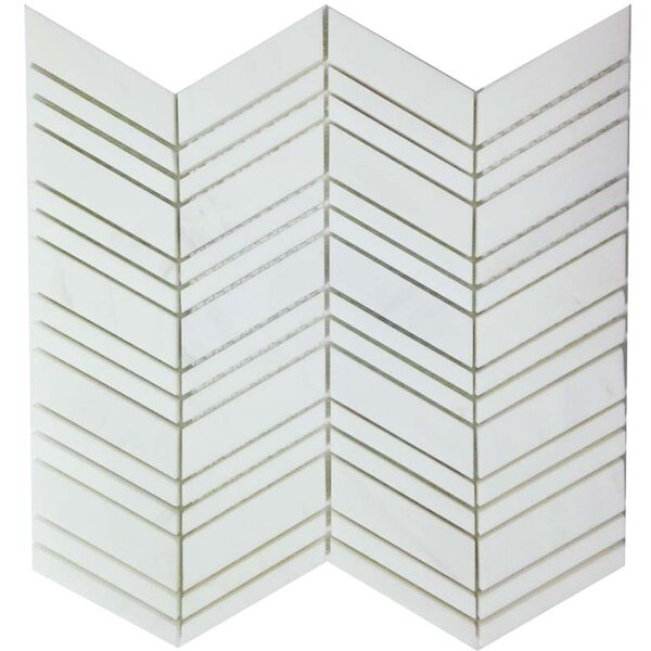 Mosaic Tile in Bianco Dolomite Chevron by Ephesus Stones
