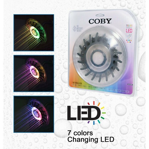 LED Color Changing Full Rain Shower Head by COBY