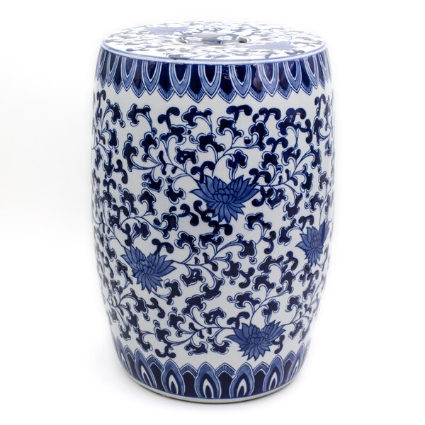 Angela Blue Lotus Garden Stool by Charlton Home