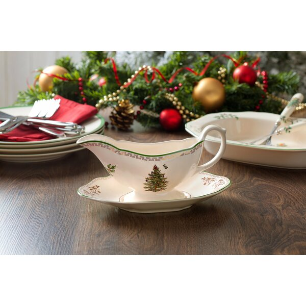 Christmas Tree Gold Sauce Boat and Stand by Spode