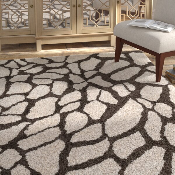 Zebrowski Shag Hand-Tufted Ivory/Brown Area Rug by