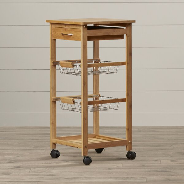 Girard Kitchen Cart with Wood Top by August Grove