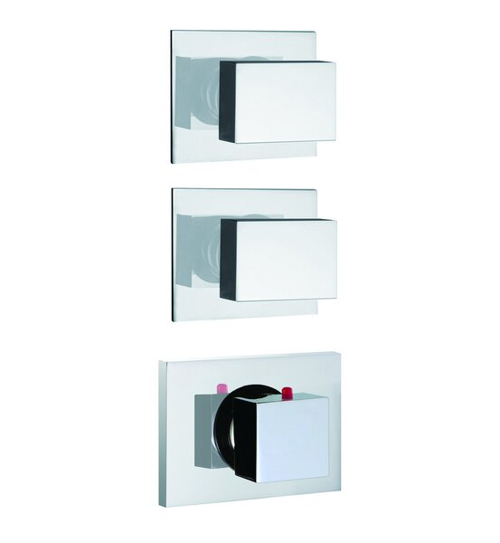 Brick Chic Built-In Thermostatic Valve Trim with Two Volume Control Handles by Fima by Nameeks