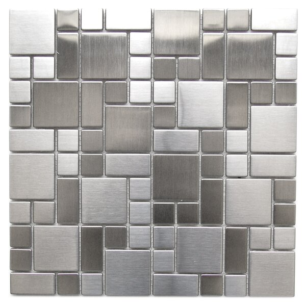 Modern Cobble Random Sized Metal Mosaic Tile in Gray/Silver by Eden Mosaic Tile