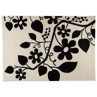 Great Price Flora White/Black Area Rug ByHokku Designs
