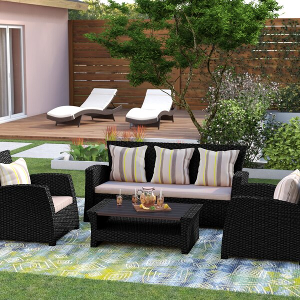 Valetta 4 Piece Sofa Seating Group with Cushions by Beachcrest Home