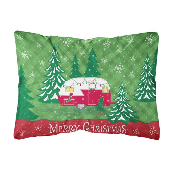 Kamille Christmas Vintage Glamping Trailer Fabric Indoor/Outdoor Throw Pillow by The Holiday Aisle