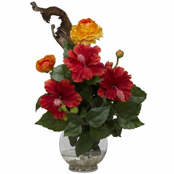 Hibiscus & Ranunculus in Fluted Bowl Silk Flower Arrangement by Nearly Natural