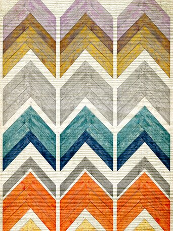 Wooden Chevron Stack Canvas Art by Oopsy Daisy