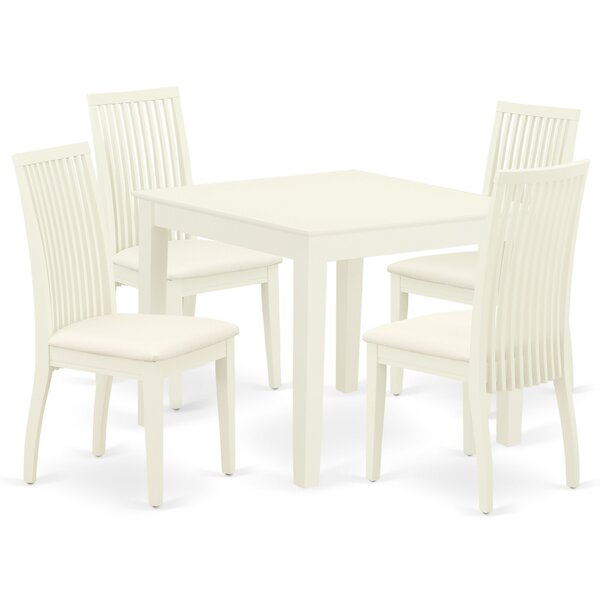 Phocas 5 Piece Solid Wood Dining Set by Winston Porter Winston Porter
