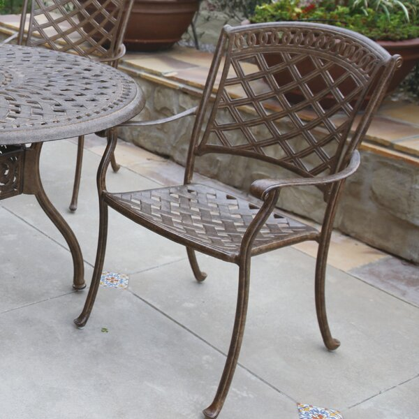 Lenahan Stacking Patio Dining Chair with Cushion by Alcott Hill