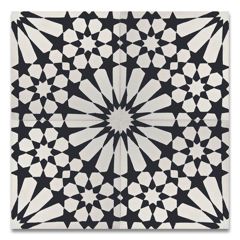 Agdal 8 x 8 handmade cement tile in black white for Handmade cement tiles