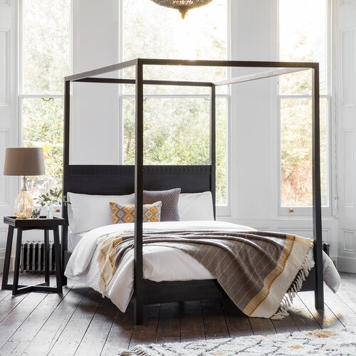 Behling Four Poster Bed Three Posts Colour: Black Charcoal,