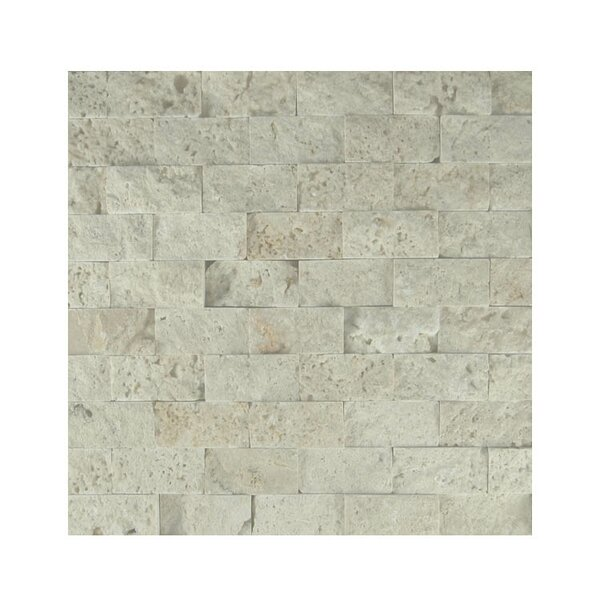 1 x 2 Natural Stone Mosaic Splitface Tile in Beige by QDI Surfaces