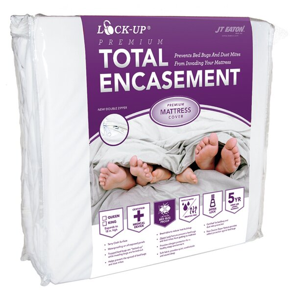 Lock-Up Premium Total Encasement Bed Bug Hypoallergenic Waterproof Mattress Protector by JT Eaton