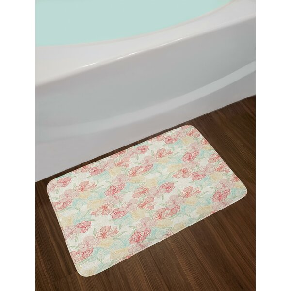 Vintage Orchid Floral Bath Rug by East Urban Home
