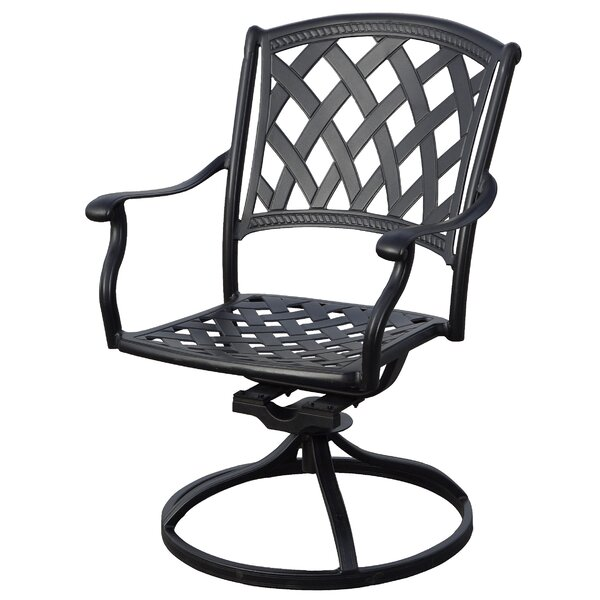 Campton Swivel Patio Dining Chair with Cushion (Set of 2) by Fleur De Lis Living