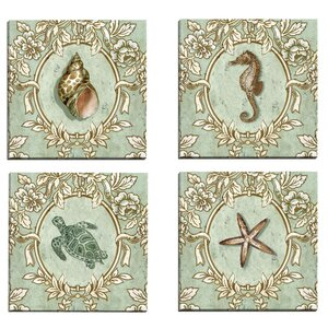 Driftwood Green Seahorse by Suzanne Nicoll 4 Piece Graphic Art on Wrapped Canvas Set by Portfolio Canvas Decor