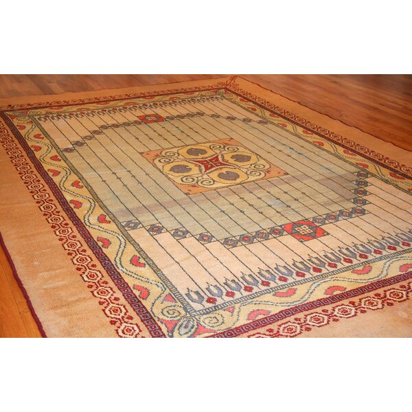 One-of-a-Kind Hand-Knotted 1910s Yellow 8'2 x 11'4 Wool Area Rug