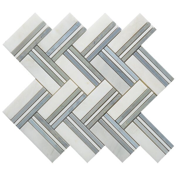 Quilt Maurice Random Sized Marble Mosaic Tile in White/Gray by Matrix Stone USA
