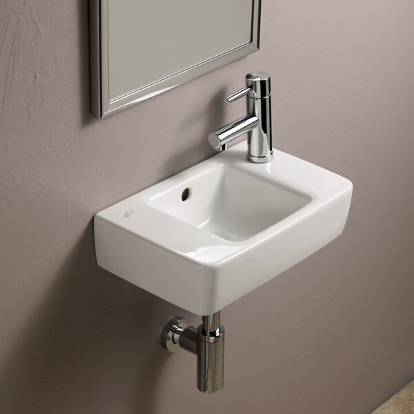 Elements Ceramic 16 Wall Mount Bathroom Sink with Overflow by Bissonnet
