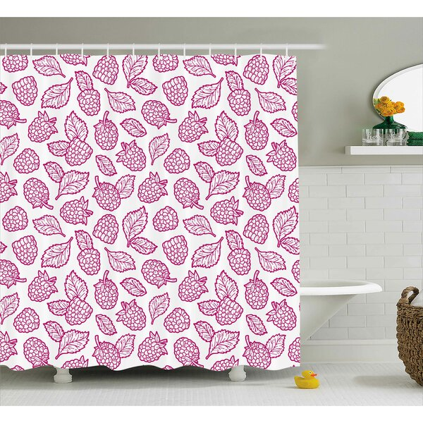 Raspberry Doodle Shower Curtain by East Urban Home