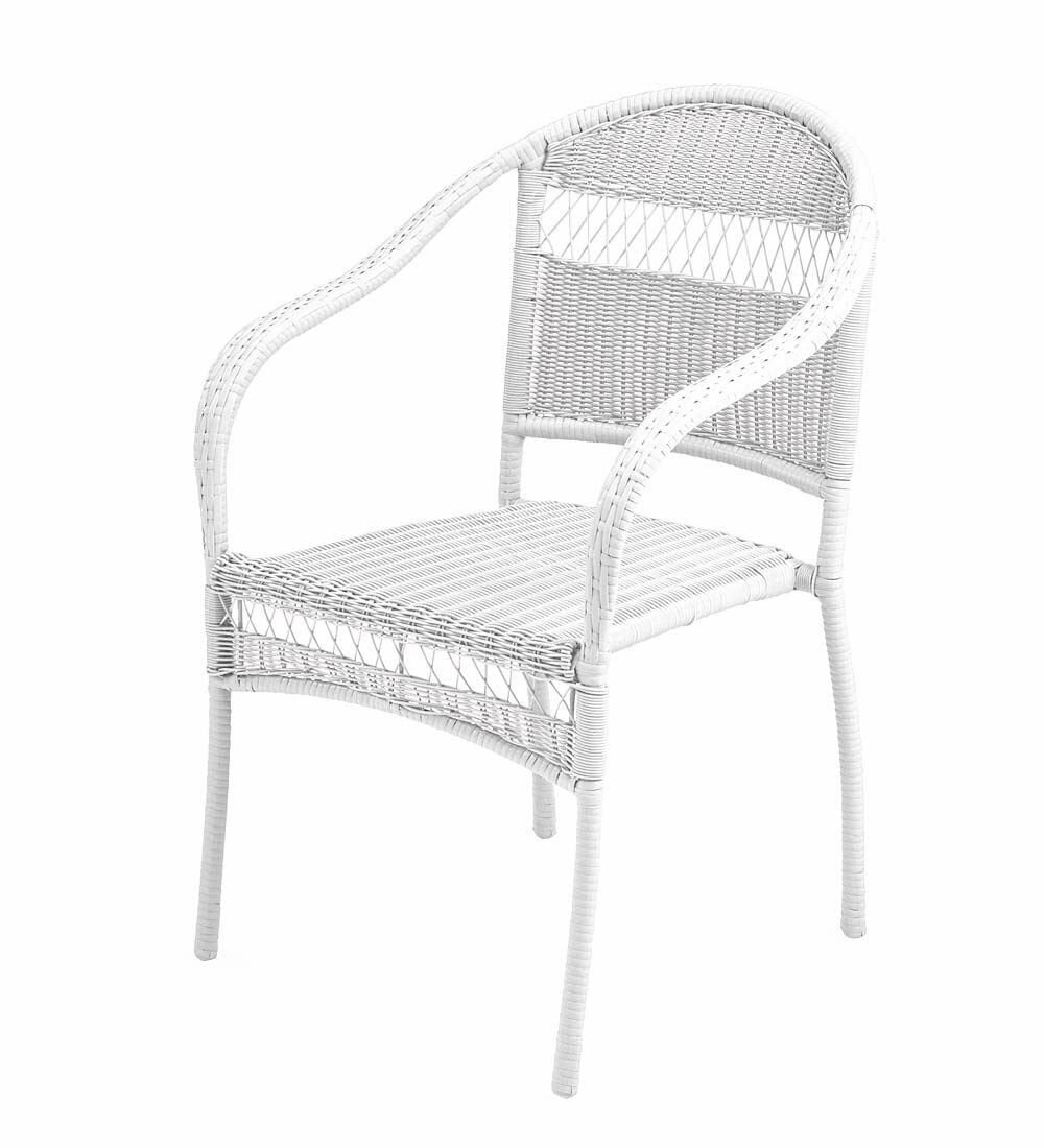 Astounding Plow Hearth Tangier Wicker Stacking Patio Dining Chair Alphanode Cool Chair Designs And Ideas Alphanodeonline