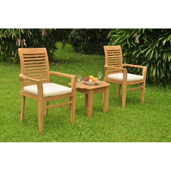 Ockton 3 Piece Teak Bistro Set by Rosecliff Heights