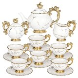 Tea Set Porcelain - Tea Sets For Women Adults 15 Pieces - Tea Cup And Saucer Set For 6 With Creamer And Sugar Bowl - Vintage English Tea Sets With Teapot (38 Oz) And Cups (7.4 Oz)