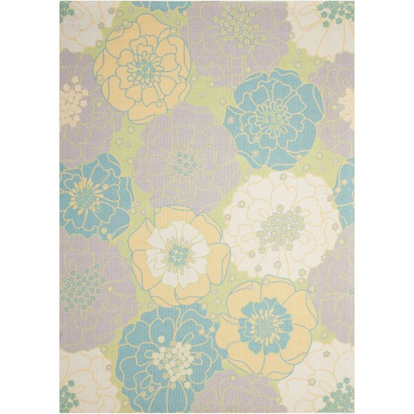 Wright Teal Blue/Yellow Indoor/Outdoor Area Rug by Charlton Home