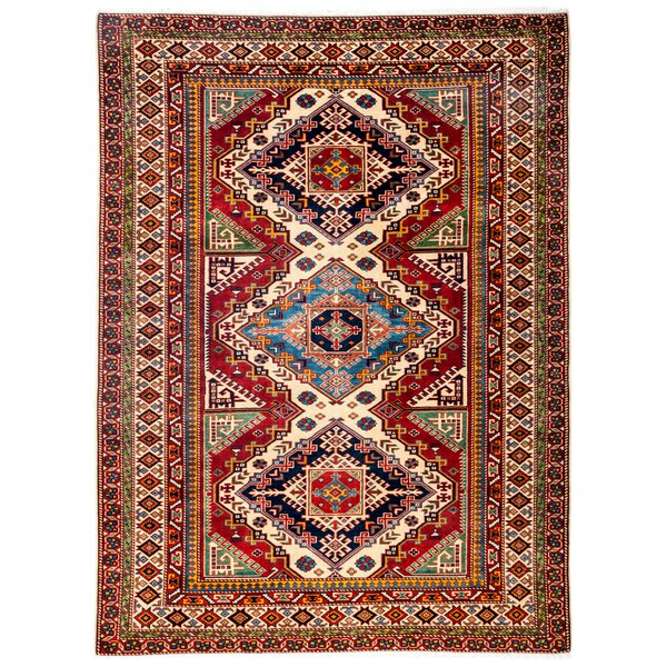 One-of-a-Kind Deshields Shirvan Hand-Knotted Red / Ivory Area Rug by Isabelline