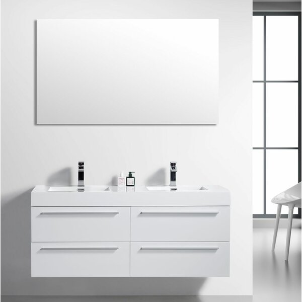 Bolivia 60 Wall-Mounted Double Bathroom Vanity by Foundry Select