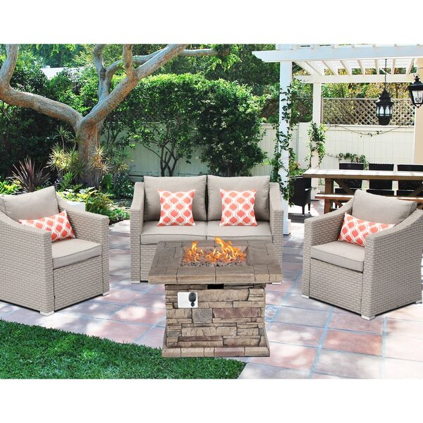 Adrik 4 Piece Rattan Sectional Seating Group with Cushions