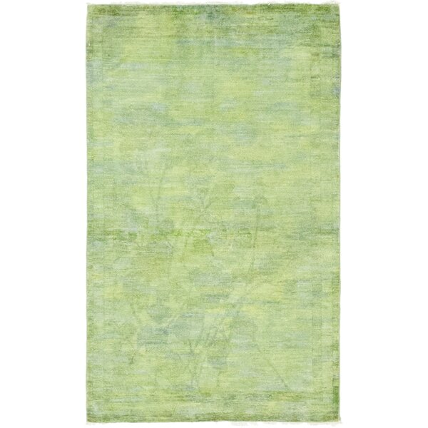 One-of-a-Kind Courter Hand-Knotted Wool Green Area Rug by Bungalow Rose